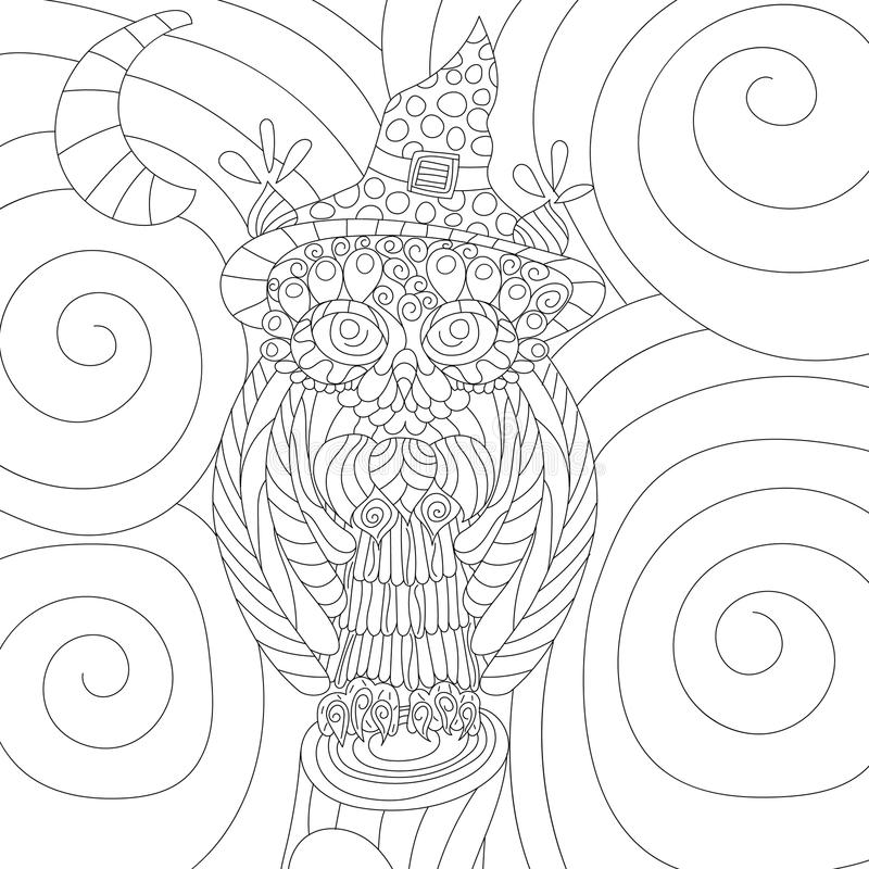 Книжка-раскраска вектора стресса сыча анти- для взрослого Изолированные ornamen бесплатная иллюстрация
