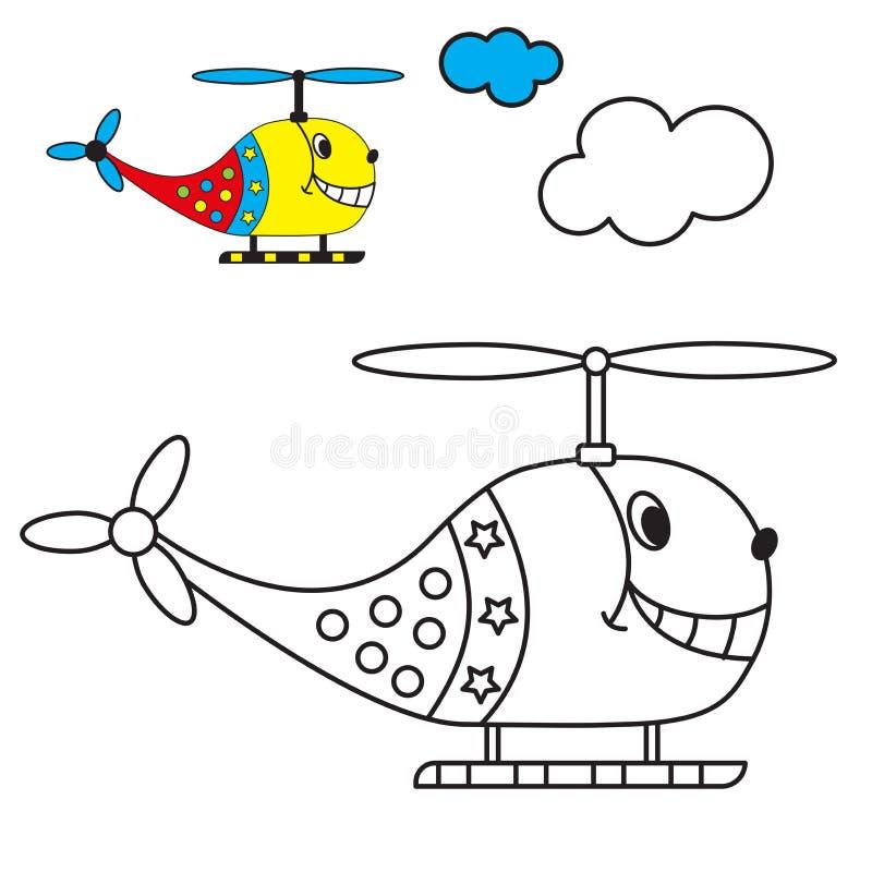Книжка-раскраска вертолет в небе с бесплатная иллюстрация