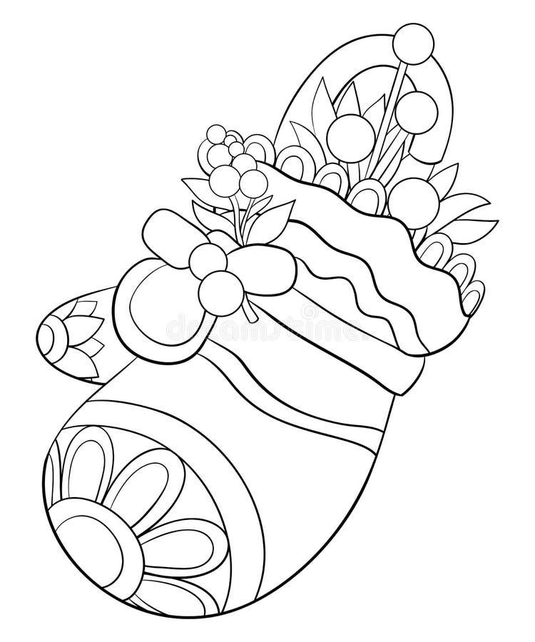 Книжка-раскраска, вызывает милый mitten с конфетой и листьями для взрослых и детей Линия иллюстрация стиля искусства иллюстрация вектора