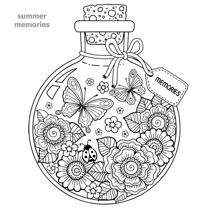 Книжка-раскраска для взрослых Стеклянный сосуд с памятями лета Бутылка с пчелами, бабочками, ladybug и листьями иллюстрация штока