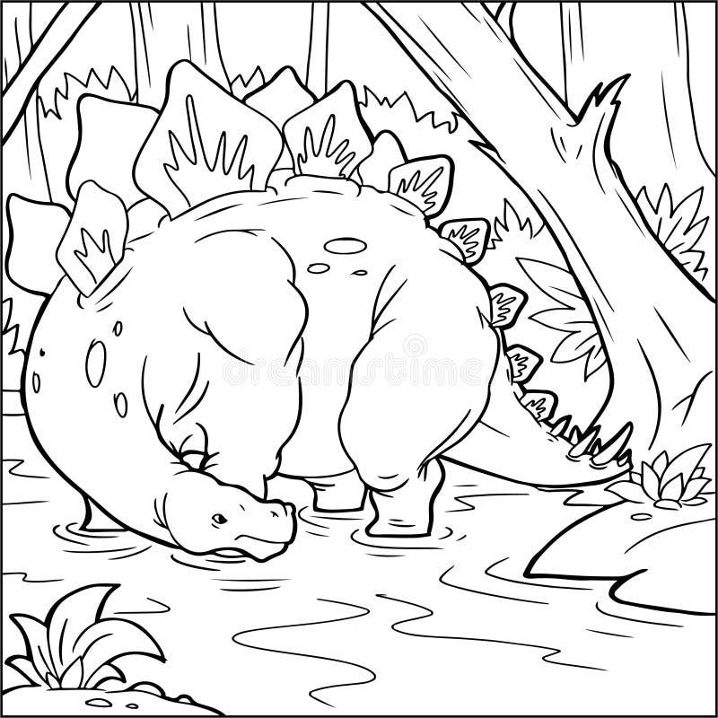 Книжка-раскраска для детей с динозавром покрашенным вручную в стиле шаржа стоковые изображения