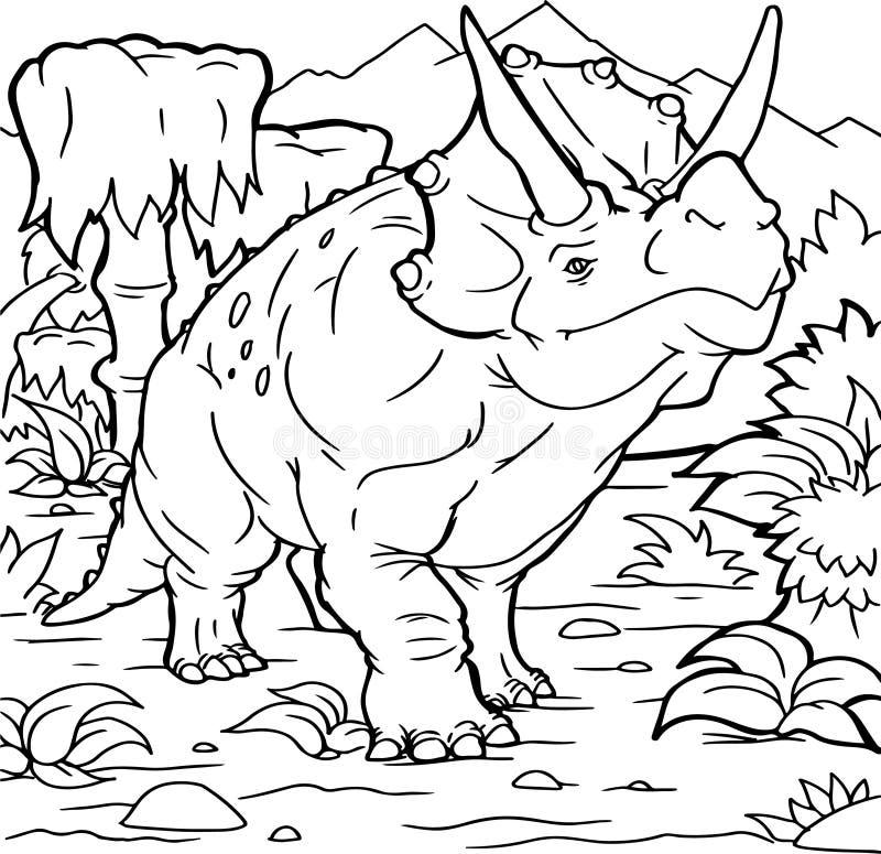 Книжка-раскраска для детей с динозавром покрашенным вручную в стиле шаржа стоковая фотография rf