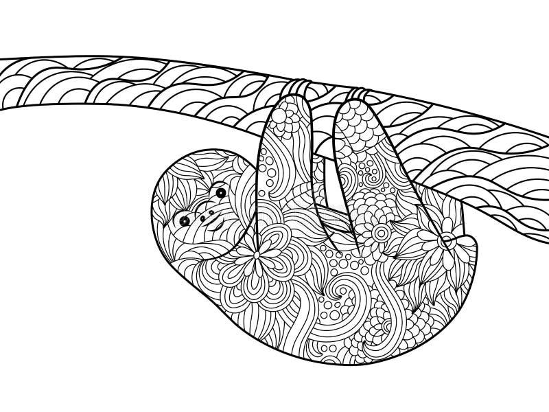 Книжка-раскраска лени для вектора взрослых иллюстрация вектора