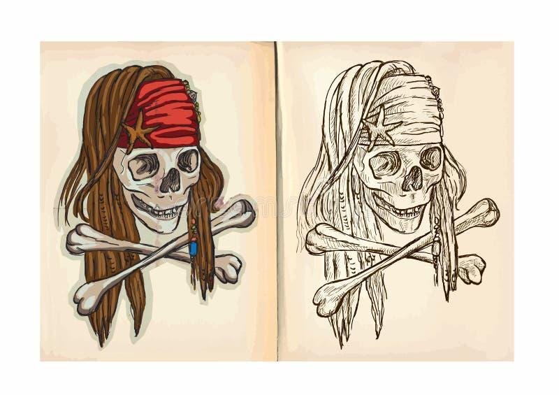 Книжка-раскраска детей - череп иллюстрация вектора