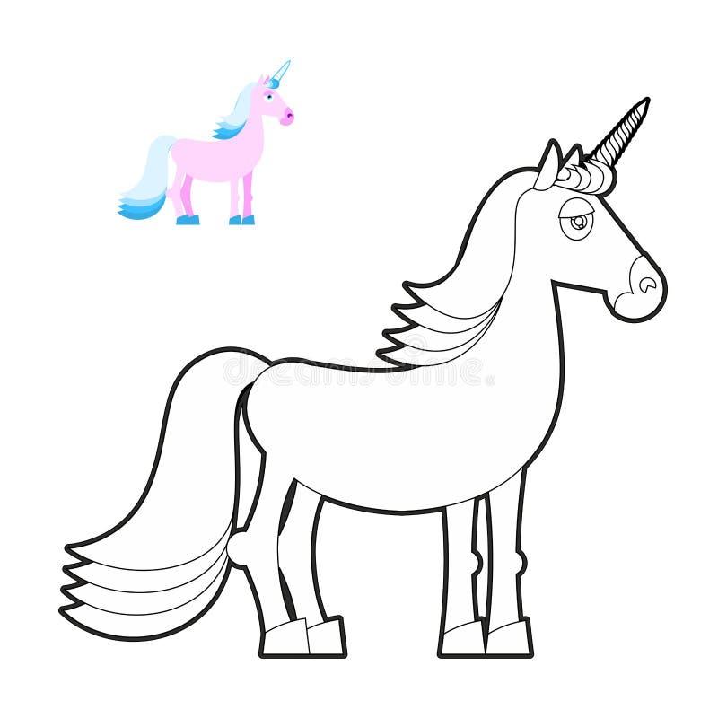 Книжка-раскраска единорога Фантастическое животное в линейном стиле Fabulou бесплатная иллюстрация