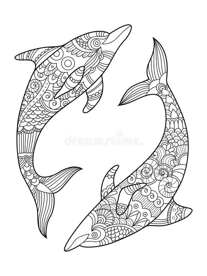 Книжка-раскраска дельфина для вектора взрослых иллюстрация штока