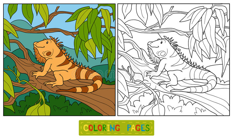Книжка-раскраска (игуана) бесплатная иллюстрация