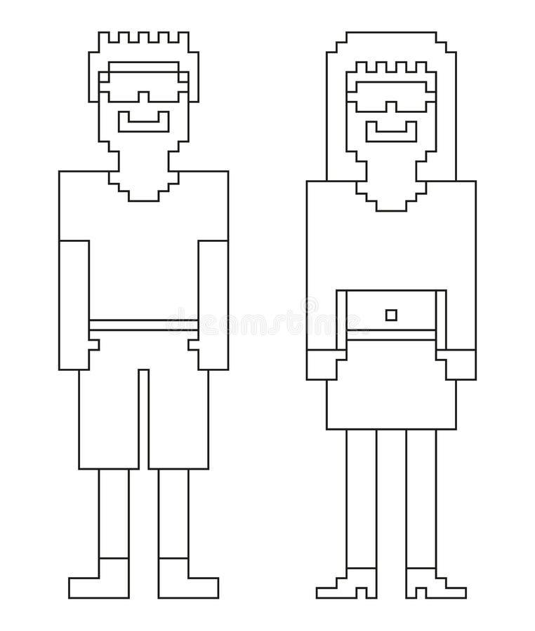 Книжка-раскраска - 2 изолированных (пиксел) люд 8bit - мужчина и женщина иллюстрация штока