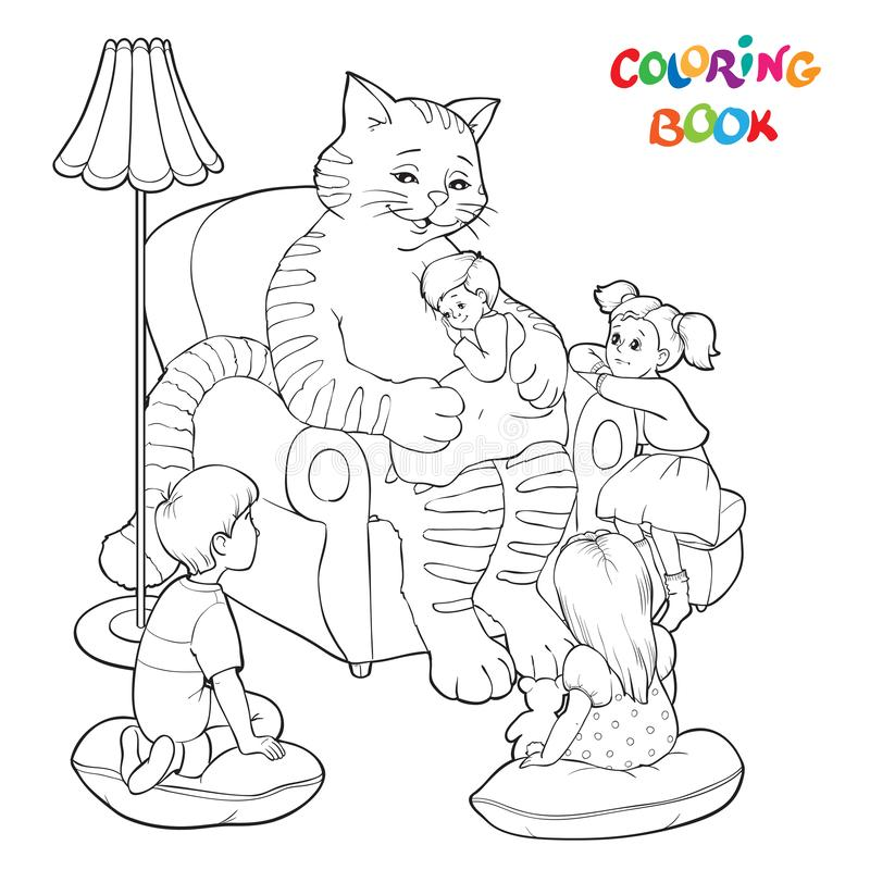Книжка-раскраска или страница Большой добросердечный кот сидит в кресле и говорит сказки к девушкам и мальчикам иллюстрация вектора
