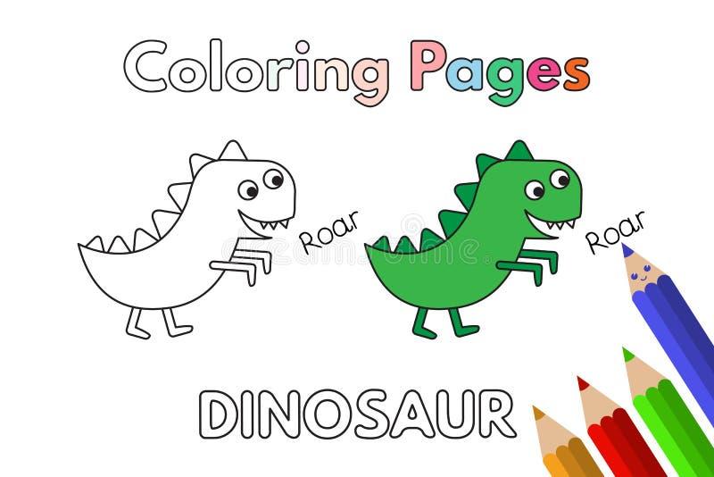 Книжка-раскраска динозавра шаржа бесплатная иллюстрация