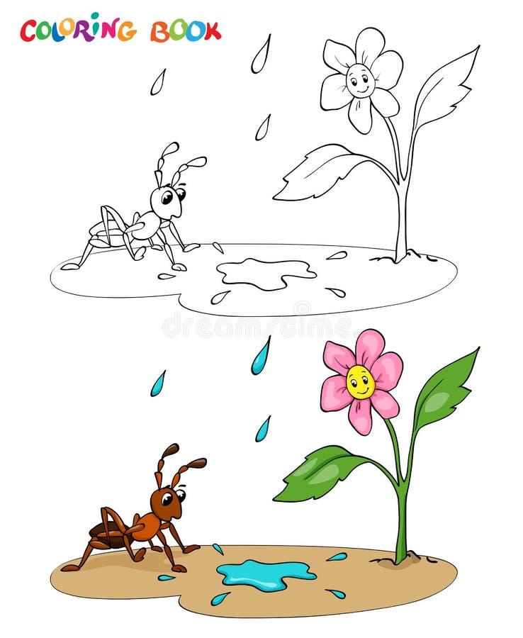 Книжка-раскраска или страница Зацветите маргаритка с муравьем, им идет дождь иллюстрация штока