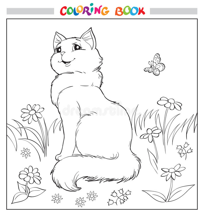 Книжка-раскраска или страница Кот сидит на траве среди цветков и бабочки иллюстрация штока