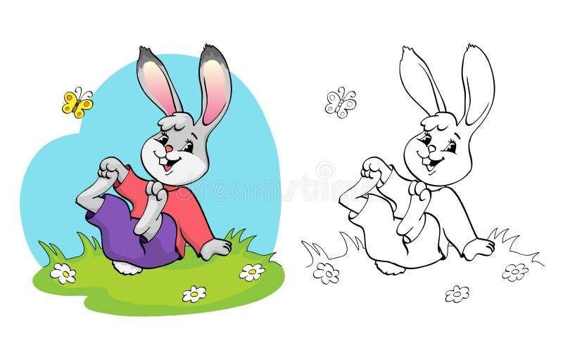 Книжка-раскраска или страница Кролик в луге среди маргариток и бабочки иллюстрация вектора