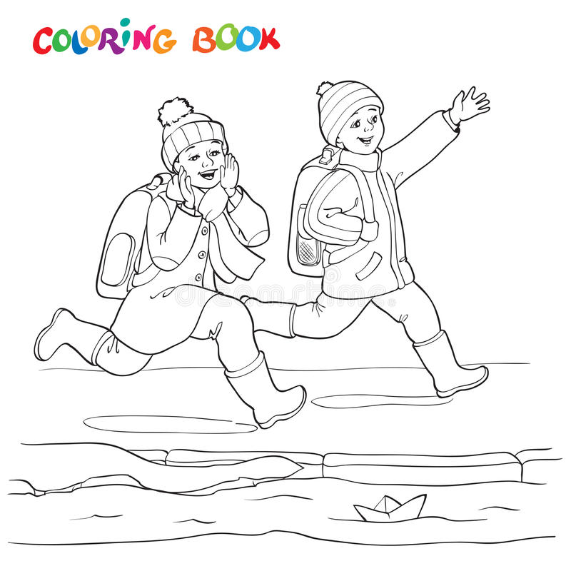 Книжка-раскраска или страница Радостный мальчик 2 бежать вдоль лужиц бумажных шлюпок бесплатная иллюстрация