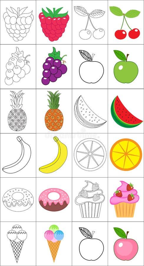 Книжка-раскраска, комплект страницы собрание fruits здоровое разнообразие иллюстрации Версия эскиза и цвета расцветка для детей О иллюстрация штока