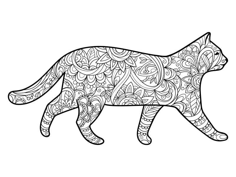 Книжка-раскраска кота для вектора взрослых иллюстрация штока