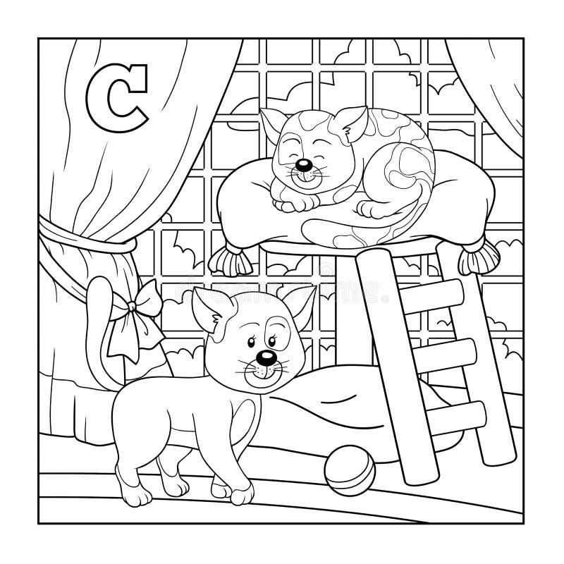 Книжка-раскраска (кот), бесцветный алфавит для детей: письмо c иллюстрация вектора
