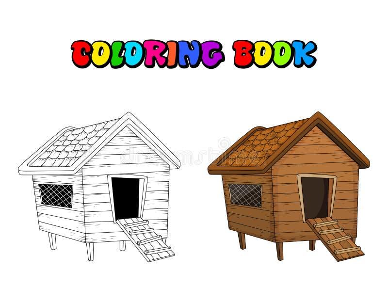Книжка-раскраска курятника шаржа изолированная на белой предпосылке бесплатная иллюстрация