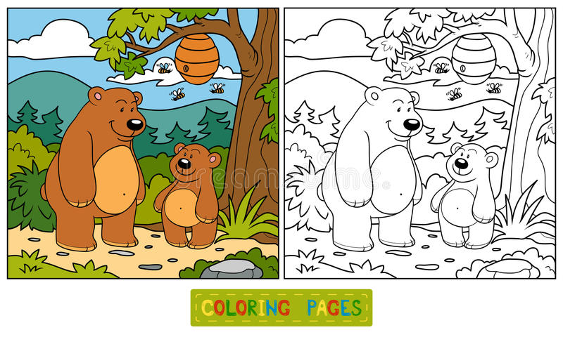 Книжка-раскраска (медведи) иллюстрация вектора
