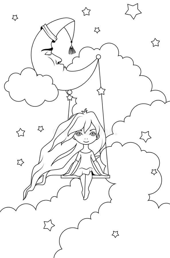 Книжка-раскраска: Милая маленькая девочка отбрасывая на полумесяце перед ночным небом Концепция инсомнии иллюстрация вектора