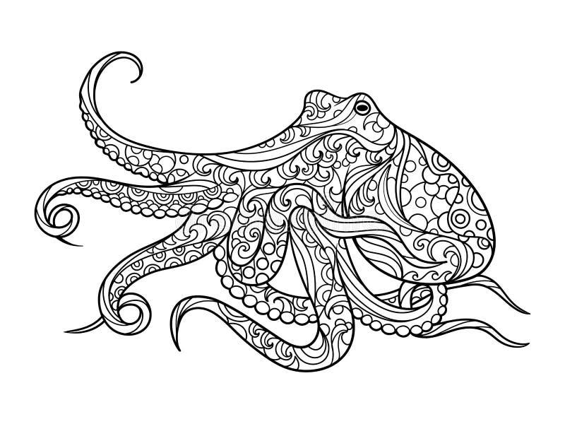 Книжка-раскраска осьминога для вектора взрослых иллюстрация вектора