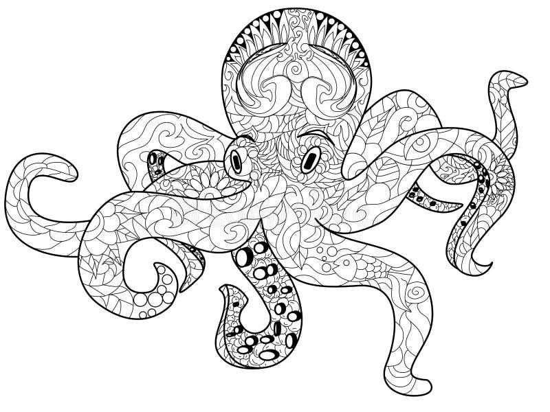 Книжка-раскраска осьминога для вектора взрослых бесплатная иллюстрация