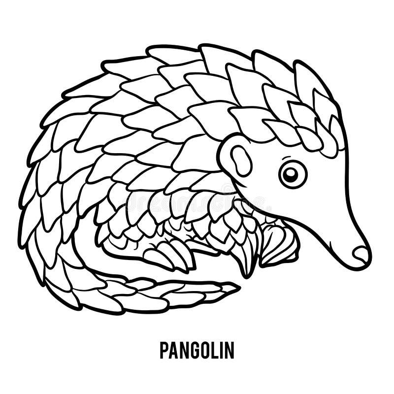 Книжка-раскраска, панголин иллюстрация вектора