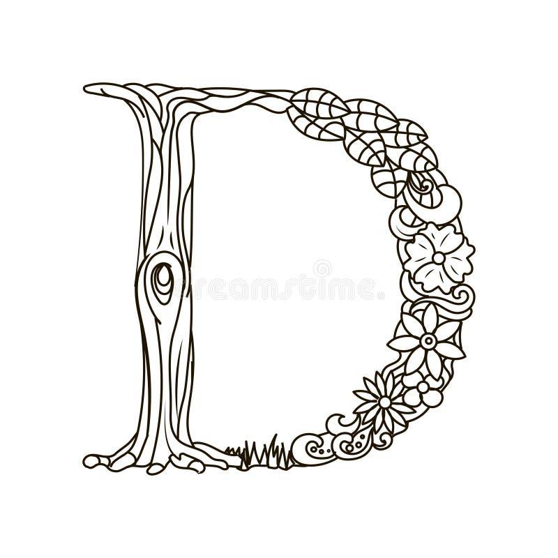 Книжка-раскраска письма d для вектора взрослых иллюстрация вектора