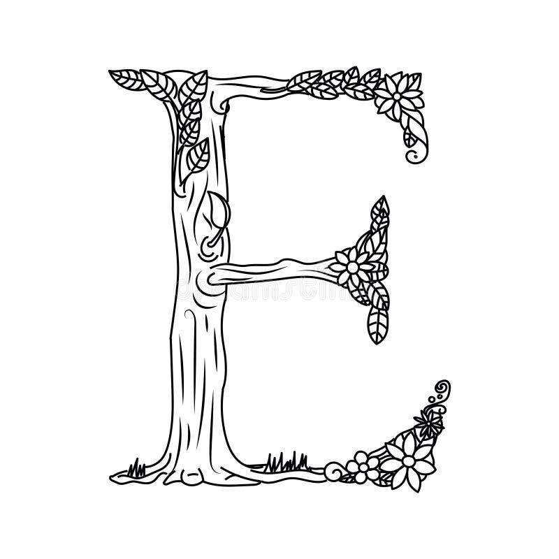 Книжка-раскраска письма e для вектора взрослых иллюстрация вектора