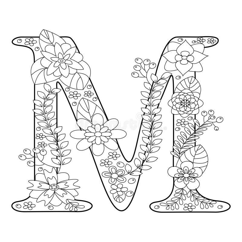 Книжка-раскраска письма m для вектора взрослых иллюстрация вектора