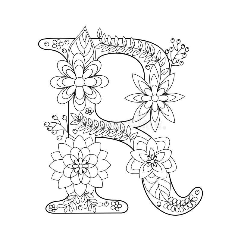 Книжка-раскраска письма r для вектора взрослых иллюстрация вектора