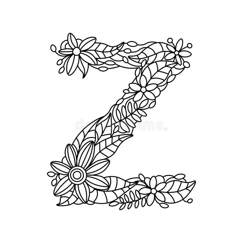 Книжка-раскраска письма z для вектора взрослых бесплатная иллюстрация