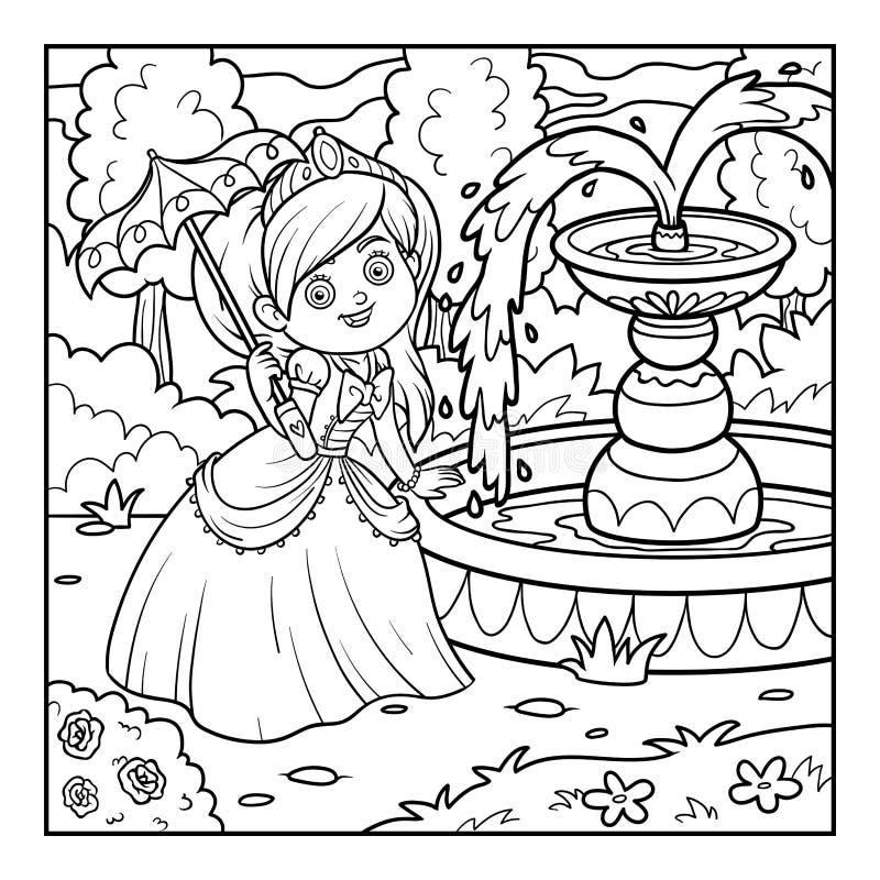 Книжка-раскраска, принцесса с зонтиком Иллюстрация вектора ...