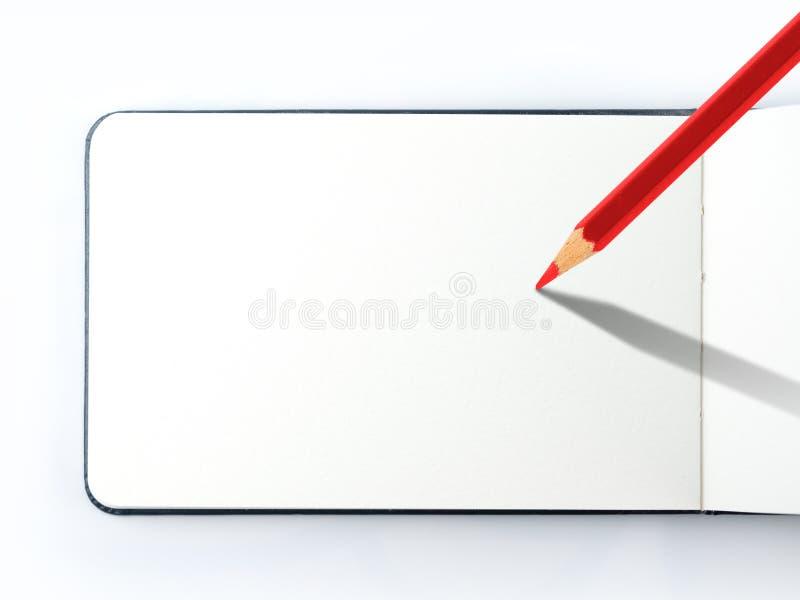 Книжка-раскраска, пустая страница с карандашем красного цвета на предпосылке изолята белой иллюстрация вектора