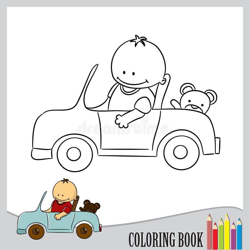 Книжка-раскраска - ребенок в автомобиле, векторе иллюстрация вектора