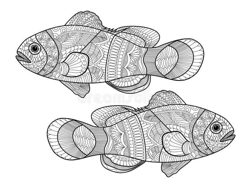 Книжка-раскраска рыб клоуна для вектора взрослых иллюстрация вектора