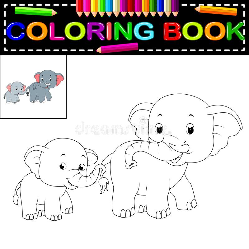 Книжка-раскраска слона иллюстрация штока