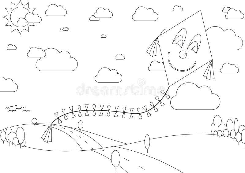 Книжка-раскраска с ландшафтом осени с змеем во время солнечного дня иллюстрация вектора