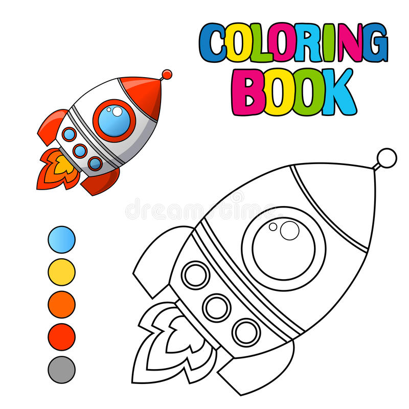 Книжка-раскраска с космическим кораблем иллюстрация вектора