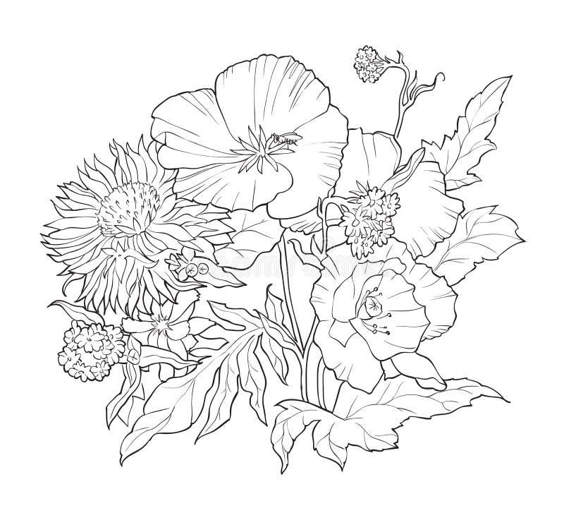 Книжка-раскраска с цветками нарисованными рукой черная белизна иллюстрация штока