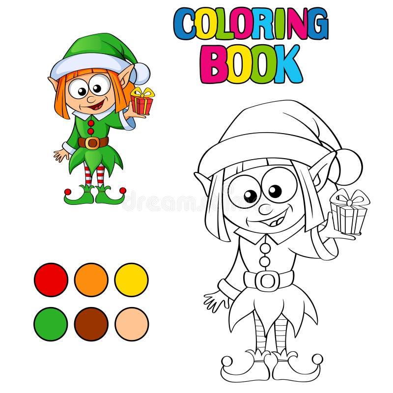Книжка-раскраска с эльфом рождества иллюстрация штока