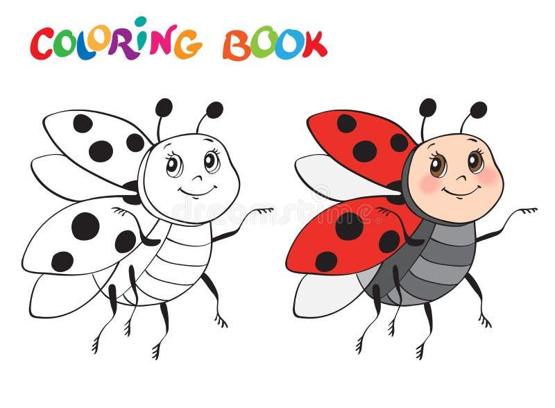 Книжка-раскраска с Ladybug также вектор иллюстрации притяжки corel Изолировано на белизне иллюстрация вектора