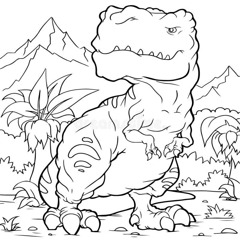Книжка-раскраска тиранозавра шаржа стоковые изображения