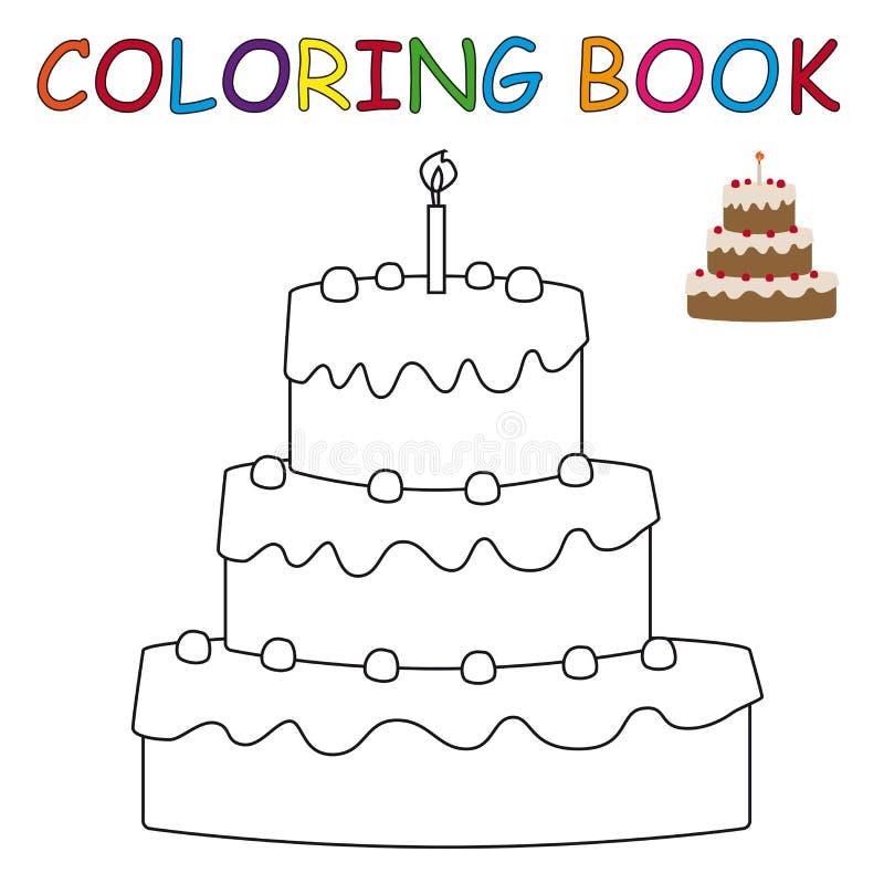 Книжка-раскраска - торт иллюстрация штока