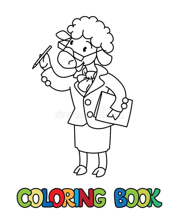 Книжка-раскраска ученого овец alphabet animal letter s иллюстрация штока