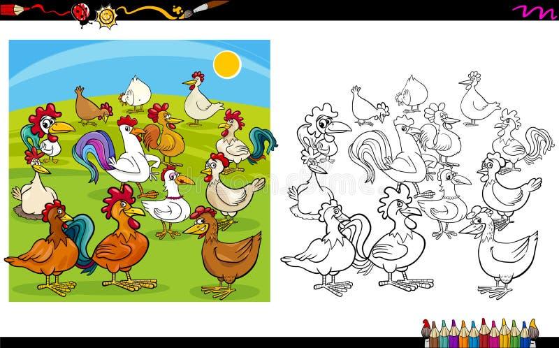 Книжка-раскраска характеров цыпленка бесплатная иллюстрация
