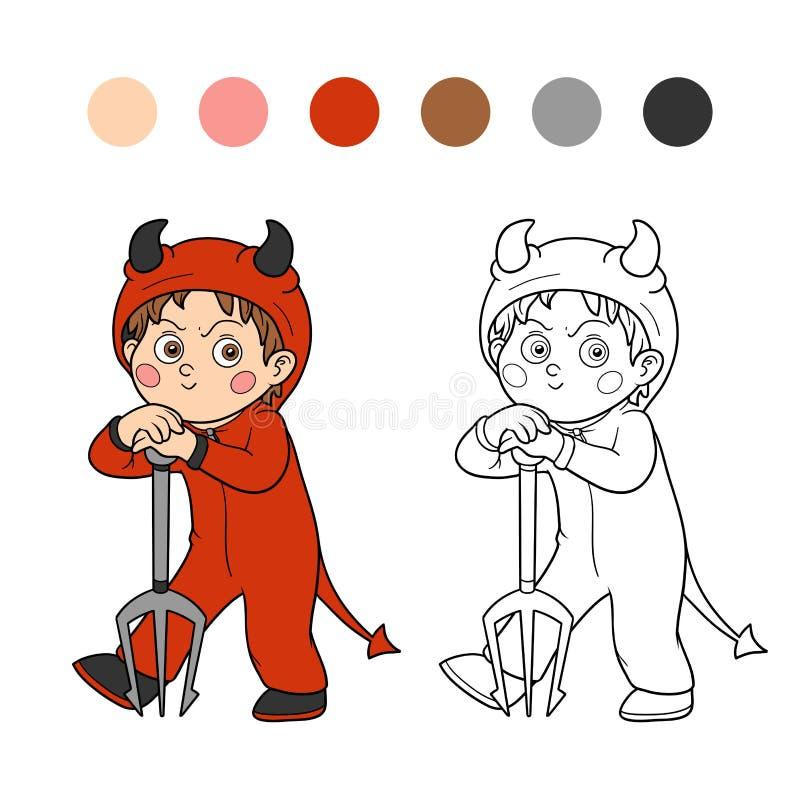 Книжка-раскраска: Характер хеллоуина (дьявол) иллюстрация штока
