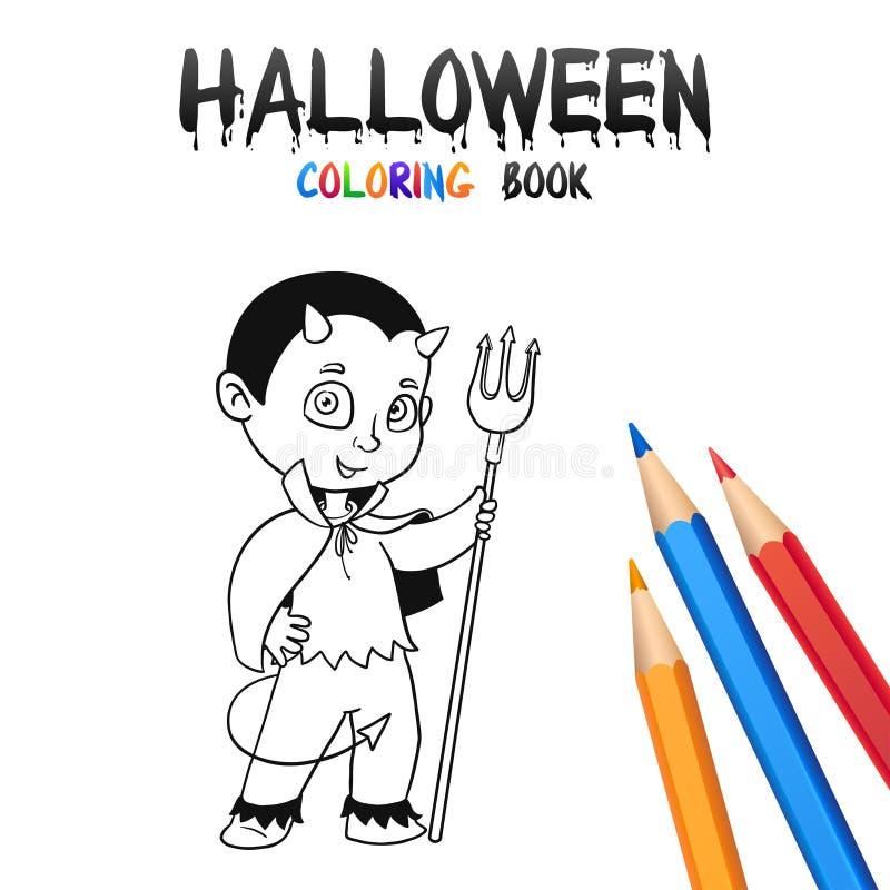 Книжка-раскраска хеллоуина Милый персонаж из мультфильма младенца иллюстрация вектора