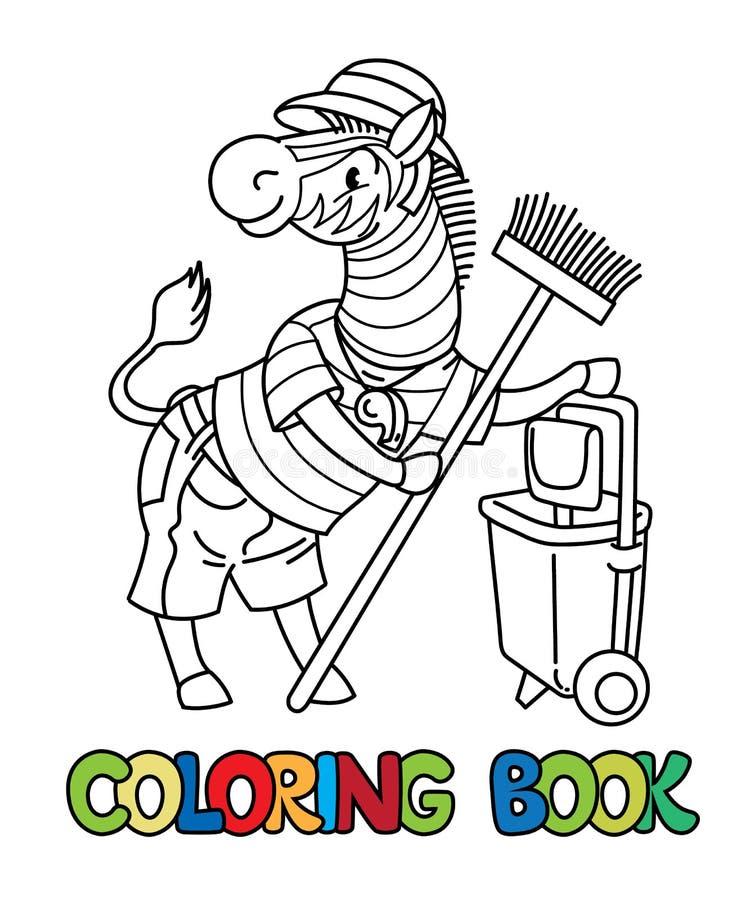Книжка-раскраска хранителя зоопарка зебры alphabet animal letter z иллюстрация вектора