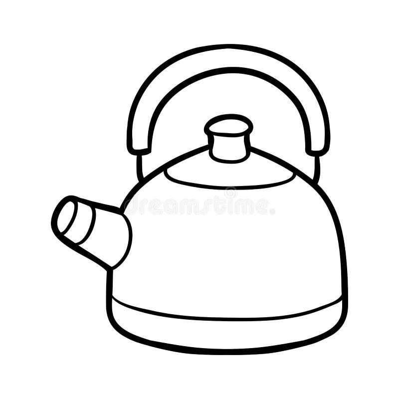 Книжка-раскраска, чайник иллюстрация вектора